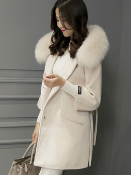 Stylish Faux Fur Collar Straight Overcoat