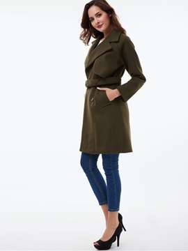 Stylish Belt Mid-Length Overcoat