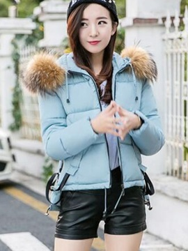 Stylish Faux Fur Hooded Slim Cotton Overcoat