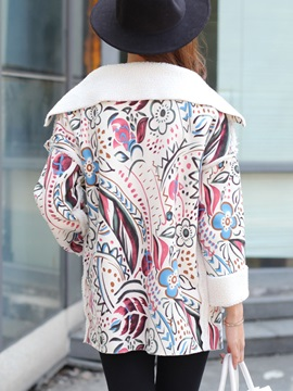 Stylish Floral Printed Straight Overcoat