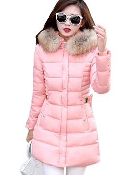 Stylish Faux Fur Collar Slim Mid-Length Overcoat
