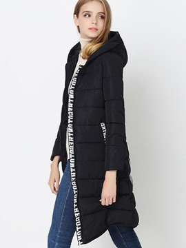 Stylish Letter Printed Long Cotton Overcoat