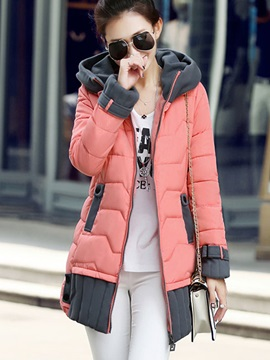 Stylish Color Block Thick Overcoat