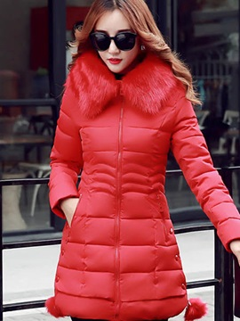 Stylish Faux Fur Hooded Thick Cotton Overcoat