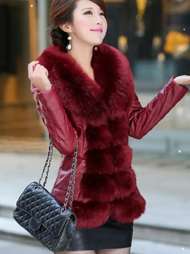 Stylish Faux Fur Collar Thick PU Overcoat