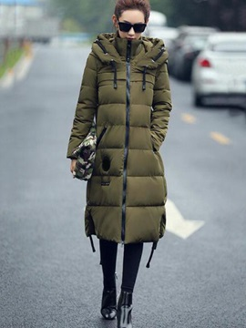 Chic Zipper Appliques Cotton Overcoat