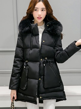 Stylish Fur Collar Mid-Length Thick Overcoat
