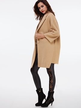 Simple Notched Lapel Loose Overcoat