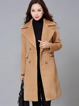 Simple Double-Breasted Mid-Length Overcoat