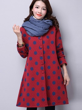 Stylish Polka Dots Loose Overcoat