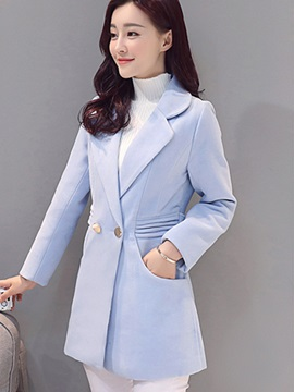Simple Pure Color Slim Overcoat