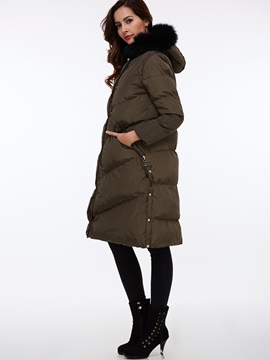 Chic Faux Fur Collar Mid-Length Cotton Overcoat
