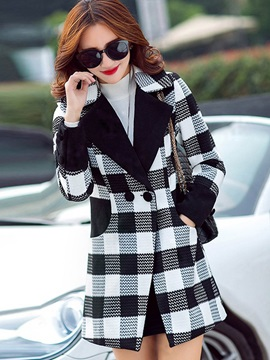 Stylish Plaid Mid-Length Slim Overcoat