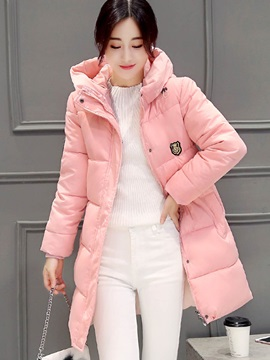 Stylish Stand Collar Thick Cotton Overcoat