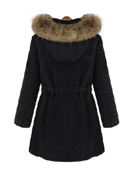 Stylish Faux Fur Hooded Slim Overcoat