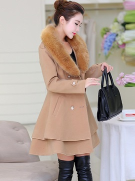 Stylish Double-Breasted Hemline Overcoat