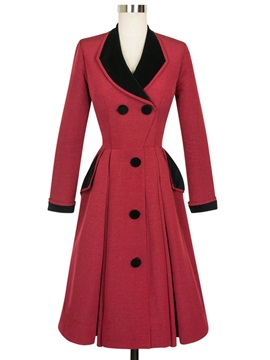 Stylish Color Block Collar Slim Overcoat