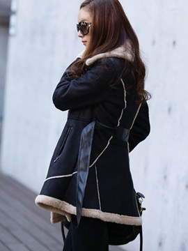Stylish Lace-Up Thick Overcoat