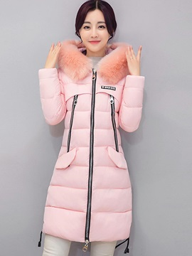 Stylish Zipper Mid-Length Cotton Overcoat