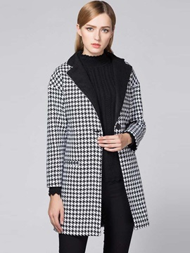 Stylish Houndstooth Straight Overcoat