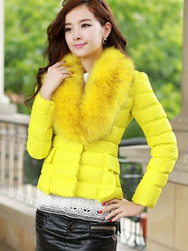 Stylish Faux Fur Collar Short Cotton Overcoat