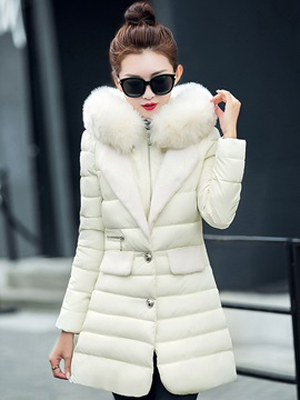 Stylish Faux Fur Hooded Cotton Overcoat