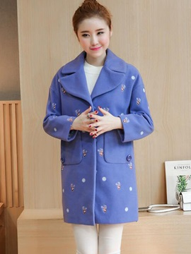 Stylish Notched Lapel Straight Overcoat