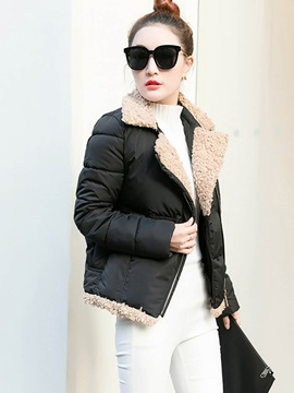 Stylish Asymmetric Zipper Slim Cotton Overcoat