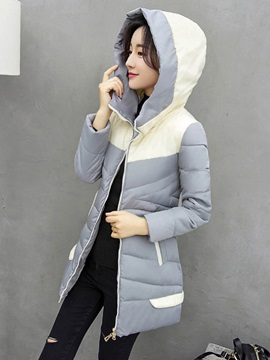 Stylish Stand Collar Color Block Cotton Overcoat