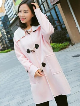 Stylish Horn Button Stand Collar Overcoat