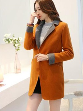 Stylish Color Block Mid-length Slim Overcoat