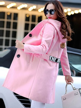 Stylish Back Letter Printed Loose Overcoat