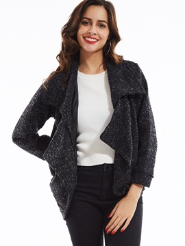 Stylish Wide-Lapel Wrapped Mottled Coat