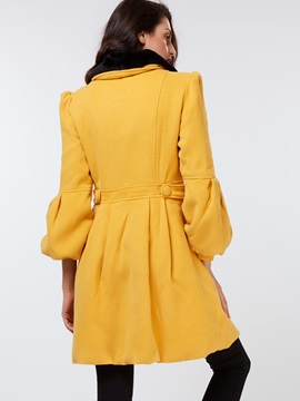 Stylish Hemline Solid Color Overcoat
