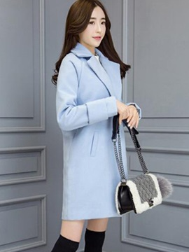 Stylish Pure Color Notched Lapel Overcoat
