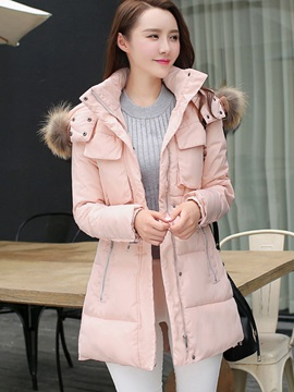 Stylish Slim Zipper Pockets Cotton Overcoat
