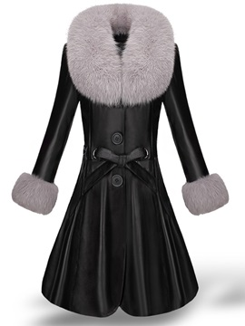 Faux Fur Patchwork Pu Long Women's Overcoat