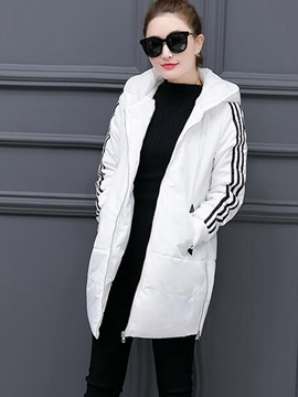 Stylish Stripe Printed Sleeve Mid-Length Cotton Overcoat