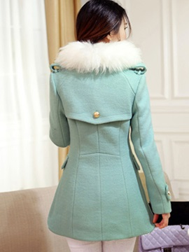 Stylish Solid Color Double-Breasted Overcoat