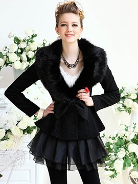 Stylish Bowknot Short Overcoat