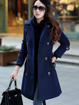Stylish Belt Double-Breasted Overcoat