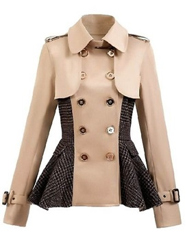 Stylish Double-Breasted Hemline Short Overcoat