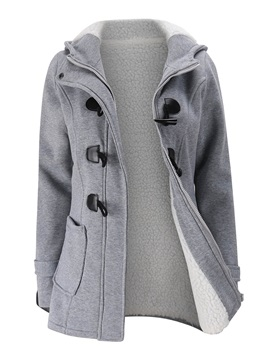Button Hooded Overcoat