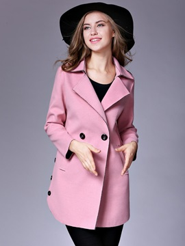 Lapel Double-Breasted Plain Trench Coat