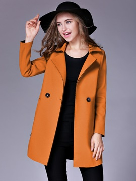 Lapel Double-Breasted Plain Mid-Length Women's Trench Coat