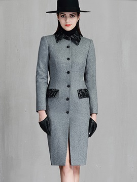Fashion long Sleeve Button Overcoat