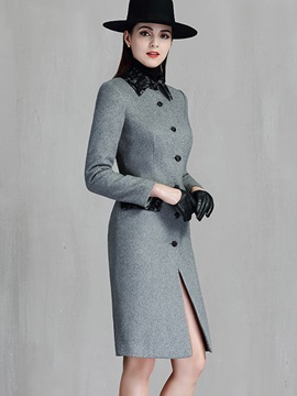 Fashion long Sleeve Button Women's Overcoat