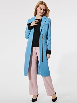 Slim Fashion Long Sleeve Wool Women's Overcoat