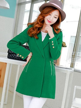 Plain Lapel Button Mid-Length Trench Coat