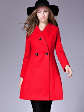 Stylish Plain Mid-Length Trench Coat
